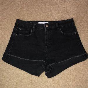 Zara Black Denim Cuffed Shorts
